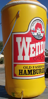 advertising inflatables - custom Wendy's Frosty cup